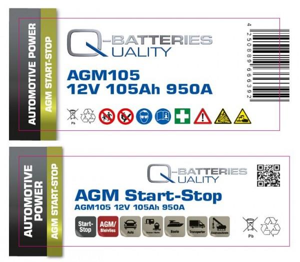 Aufkleber für Q-Batteries AGM105, bitte Exide EK1050 überkleben