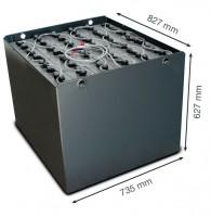 Q-Batteries 48V Gabelstaplerbatterie 6 PzS 690 DIN A (827 x 735 x 627) Trog 57017003 inkl. Aquamati