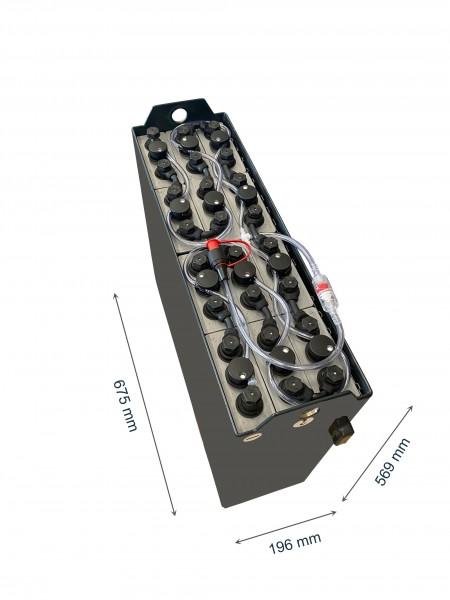 Q-Batteries 24V Gabelstaplerbatterie 3 PzB 225 Ah (643/673 * 194 * 568mm L/B/H) inkl. Aquamatik