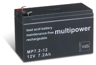 Multipower MP7,2-12 / 12V 7,2Ah Blei Akku mit VdS Zulassung