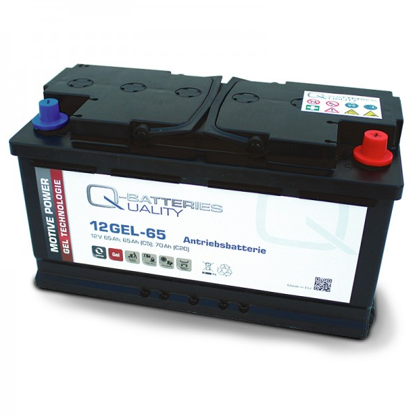 Q-Batteries 12GEL-65 Antriebsbatterie 12V 65Ah (5h), 73Ah (20h) wartungsfreier Gel-Akku VRLA