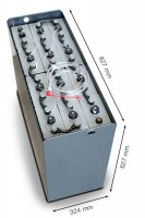 Q-Batteries 24V Gabelstaplerbatterie 5 PzS 575 DIN A (827 x 324 x 627) Trog 57014028 inkl. Aquamatik