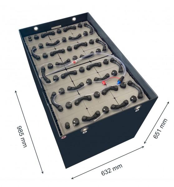 Q-Batteries 48V Gabelstaplerbatterie 6 PzS 750 (985 x 632 x 651mm L/B/H) Trog 40319900 inkl. Aquama