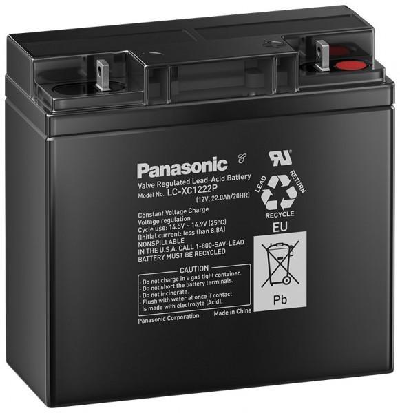 Panasonic LC-XC1222P 12V 22Ah Blei-Vlies Akku AGM Zyklenfest / Deep Cycle