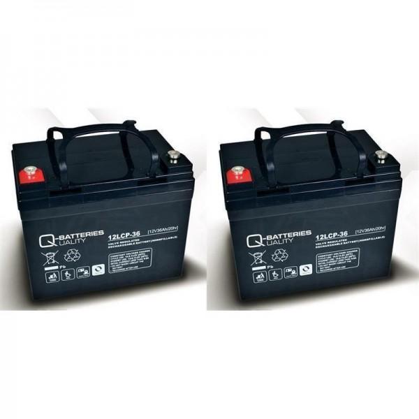Ersatzakku für Invacare Butler 2 St. Q-Batteries 12LCP-36 / 12V - 36Ah Zyklentyp AGM VRLA