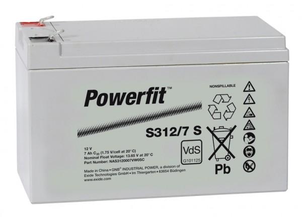 Exide Powerfit S312/7 S 12V 7Ah dryfit Blei-Akku AGM mit VdS