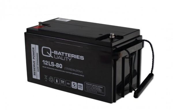 Q-Batteries 12LS-80 / 12V - 82Ah Blei Akku Standard-Typ AGM - 10 Jahres-Typ