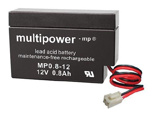 Multipower MP0,8-12 /12V 0,8Ah Blei Akku AGM mit JST-Stecker