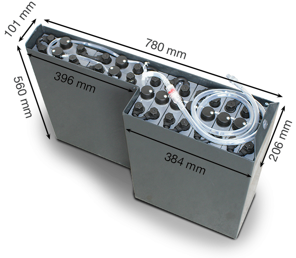 Q-Batteries 24V Staplerbatterie 2 PzS 180Ah (780 x 206 x 560mm L/B/H) Trog 57284045 inkl. Aquamatik