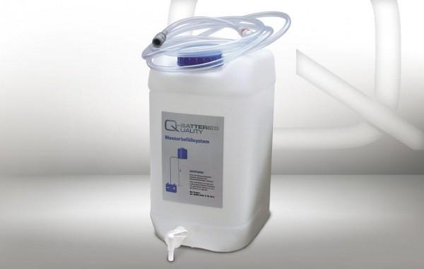 Fallwasserbehälter 30l mit Auslaufhahn, Fließanzeiger mit Filter, Schlauch (4m) und Kupplung