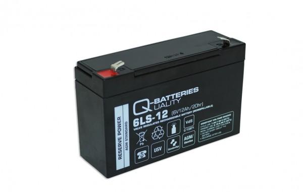 Q-Batteries 6LS-12 6V 12Ah Blei-Vlies Akku / AGM VRLA mit VdS