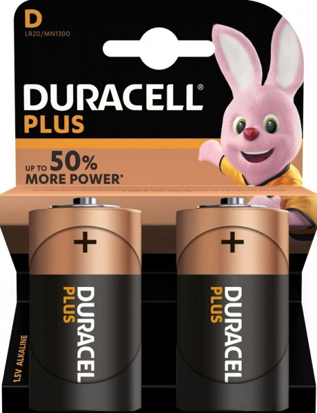 Duracell Plus LR20 Mono D Batterie Alkaline Batterie (2er Blister) ehemals Plus Power