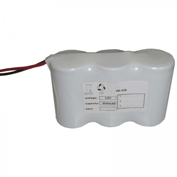 Akku Pack 3,6V 4000mAh für Notbeleuchtung Reihe NiCd F3x1 3xD-Hochtemperaturzellen Kabel