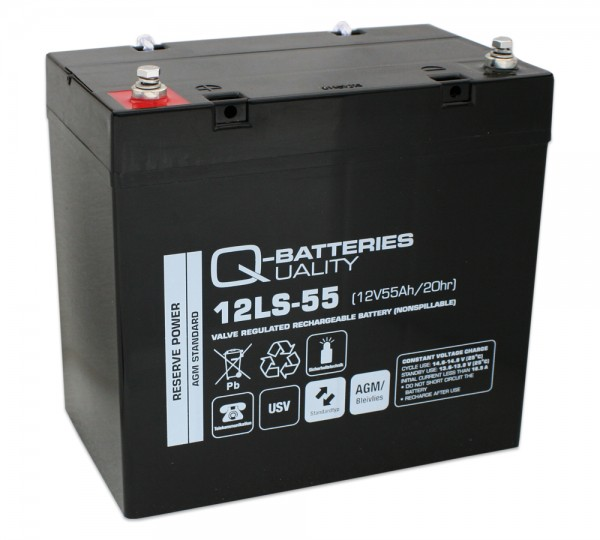 Q-Batteries 12LS-55 / 12V - 55Ah Blei Akku Standard-Typ AGM VRLA 10 Jahres Typ