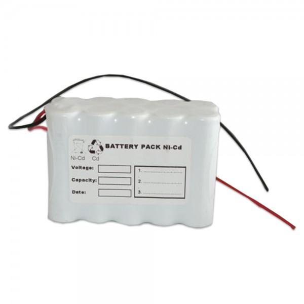 Akku Pack 12V 800mAh für Notbeleuchtung D-Reihe NiCd F5x2 10xAA Hochtemperaturzellen Kabel