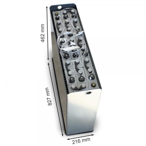Q-Batteries 24V Gabelstaplerbatterie 3 PzS 240 Ah DIN A (827 x 216 x 462mm L/B/H) Trog 57014003 inkl