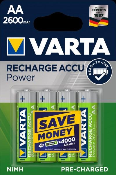 Varta Akku Recharge Accu Power Mignon AA 2600mAh (4er Blister)