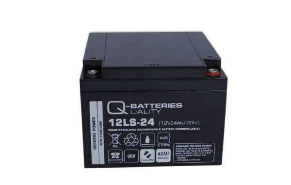 Q-Batteries 12LS-24 12V 24Ah Blei-Vlies-Akku / AGM VRLA mit VdS