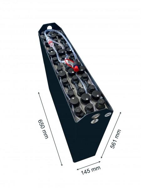 Q-Batteries 24V Gabelstaplerbatterie 2 PzB 130 Ah (650 x 145 x 561mm L/B/H) Trog 57034107 inkl. Aqua