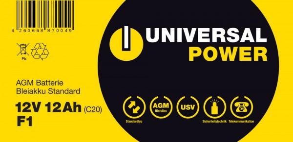 Aufkleber für Universal Power UPS12-12 F1, bitte 12LS-12 F1 überkleben