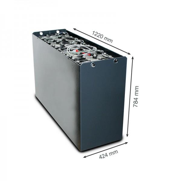 Q-Batteries 48V Gabelstaplerbatterie 5 PzS 775 DIN C (1220 x 424 x 784) Trog 57017048 inkl. Aquamati