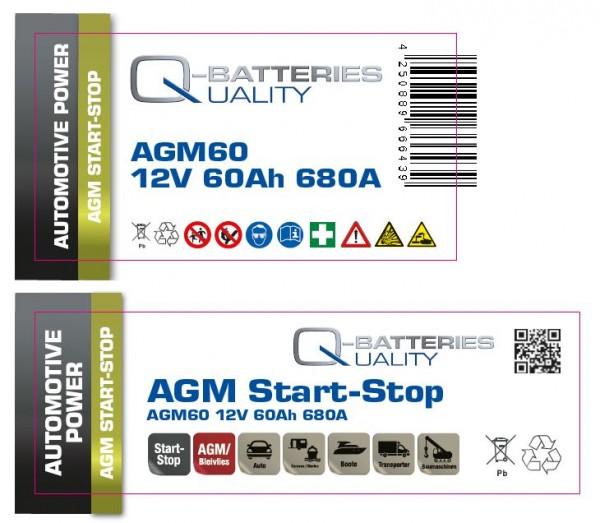 Aufkleber für Q-Batteries AGM60, bitte Exide EK600 überkleben