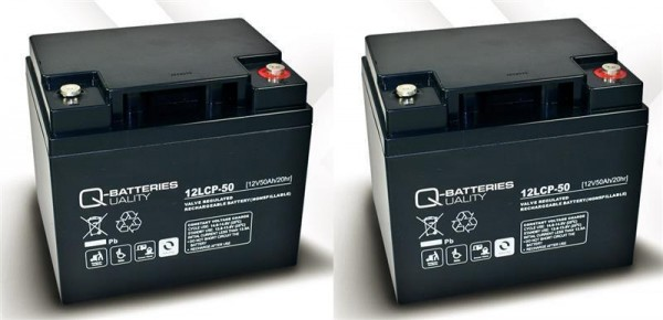 Ersatzakku für MOBILIS M74 2 St. Q-Batteries 12LCP-50 12V - 50Ah Blei Akku Zyklentyp AGM VRLA