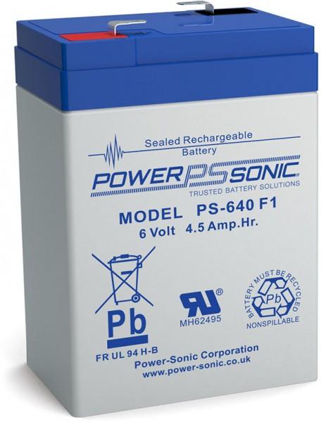 Powersonic 6V 4,5Ah Blei-Vlies Akku AGM VRLA PS 640