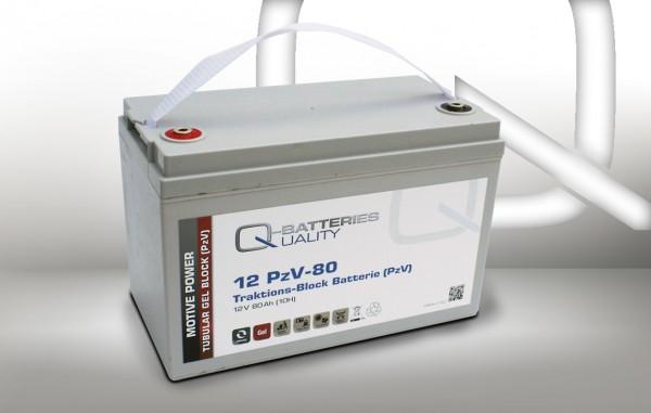 Q-Batteries 12PzV-80 Traktions-Block-Batterie 12V 80Ah (10h) Gel-Panzerplatte