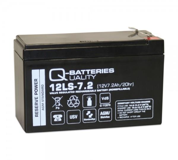 Q-Batteries 12LS-7.2 F2 12V 7,2Ah Blei-Vlies-Akku / AGM VRLA mit VdS