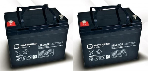 Ersatzakku für Shoprider Trios 2 St. Q-Batteries 12LCP - 36 / 12V - 36Ah Zyklentyp AGM VRLA